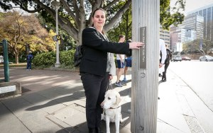 A woman stands at a street crossing with her assistance dog. She is touching a tactile street sign.