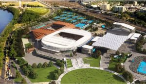 Aerial view of Melbourne Park Tennis Precinct.