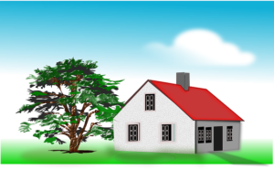 Graphic of a stylised house with red roof set on grass with a tree.