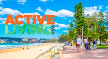 Banner for Active Living NSW showing a beach scene and people walking on a tree lined promenade.