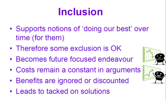 Picture of a slide with key points on inclusion.