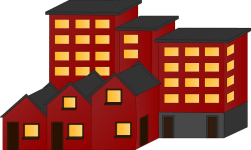 A graphic depicting stylised apartment building and terraced houses. They are dark red with yellow window shapes.