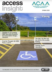 Front cover of magazine showing an accessible parking space.