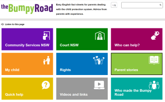 Home Page of Bumpy Road website showing nine coloured sections, each with a separate document.