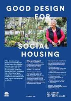 Front cover of the social housing brochure. A woman sits on the edge of a raised garden bed.