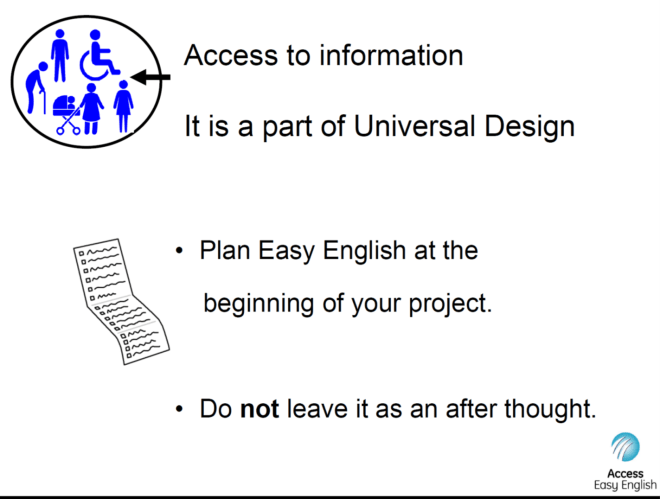 Presentation slide explaining that access to information is part of universal design.