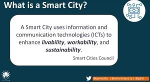 Slide from James Thurston presentation 5 Pillars of Smart Cities explaining a smart city.
