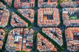 Aerial view of the city block plan in the city of Barcelona. Size mattes in urban design.