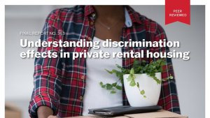 Front cover of report discrimination in private rental housing.