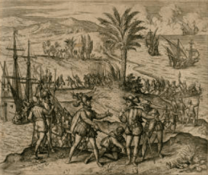 Columbus is taken prisoner with his brother Bartholomeo and sent to Spain.