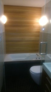 Ceder wall over tub