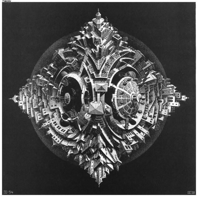 Tetrahedral Planetoid, 1954, mc escher
