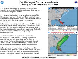 Gobernador de SC: Los residentes de Carolina del Sur deben prepararse para el huracán Isaias; pero todavía no dio orden de evacuación