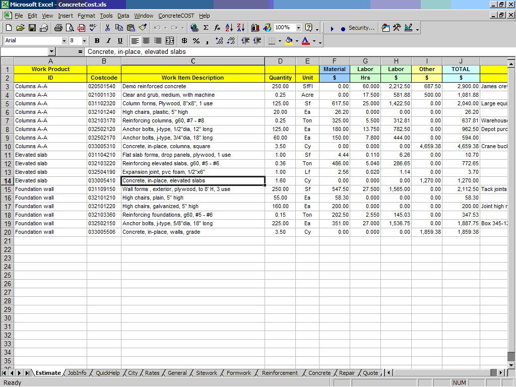 Home Construction Estimate Worksheet