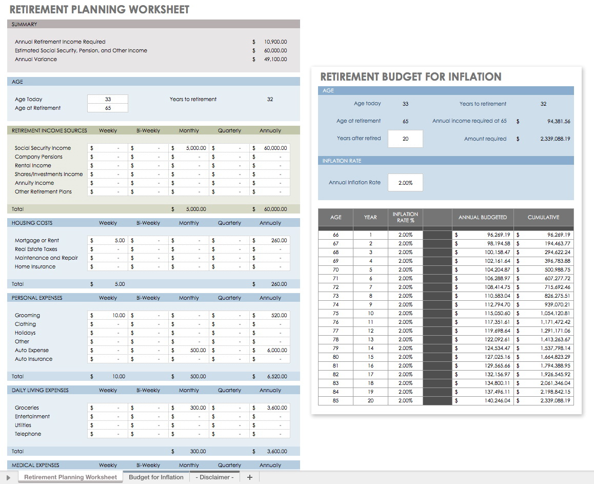 Retirement Worksheet Financial Planning