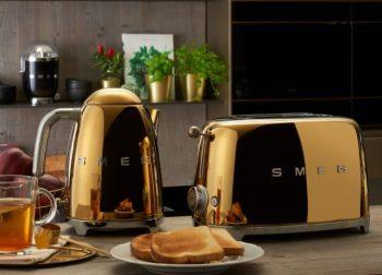 La bouilloire et le Toaster SMEG colori Or