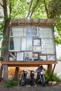 Peterson said he builds things with practicality in mind, his treehouse serves as a storage place for his motorcycles. (Ashley Thalman)