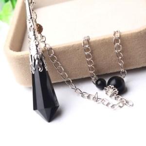 Magnifique Pendule Obsidienne