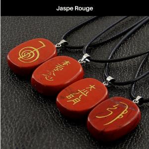 Collier Symbole Reiki Jaspe Rouge