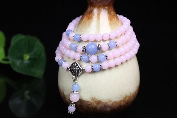 Bracelet Mâlâ pour la méditation en perles de calcédoine Univers Esotérique