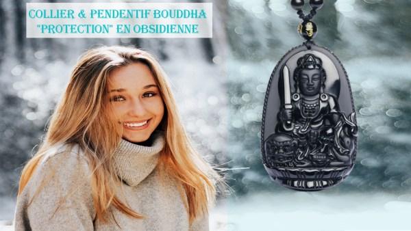Collier & Pendentif Bouddha Protection en Obsidienne Univers Esotérique