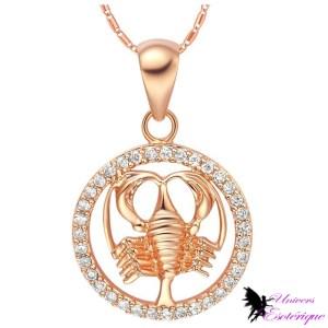 Magnifique collier signe astrologique Scorpion plaqué or et cristal - Univers ésotérique