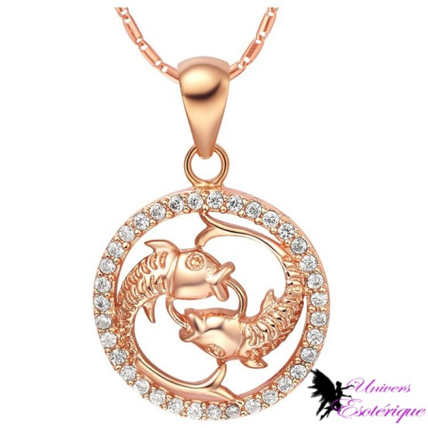 Magnifique collier signe astrologique Poissons plaqué or et cristal - Univers ésotérique