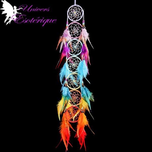 Capteur de rêves Harmonie des 7 chakras en plumes - Boutique Univers ésotérique