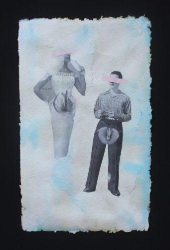 Título: No es acerca de biología  Técnica: Collage sobre papel hecho a mano Medida: 40cm x 25cm Año: 2020