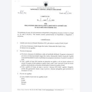 UDHËZIMI I MINISTRISË PËR ZHVILLIMIN E PROVIMEVE TË MATURËS SHTETËRORE 2021