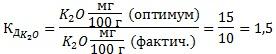 Коэффициент действия питательного элемента (калий)