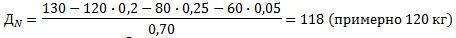 Пример расчета дозы удобрений (азот)