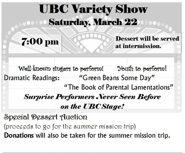 UBC Variety Show - March 22, 7 pm