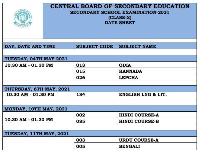 Class 10 CBSE Board Date Sheet 2021