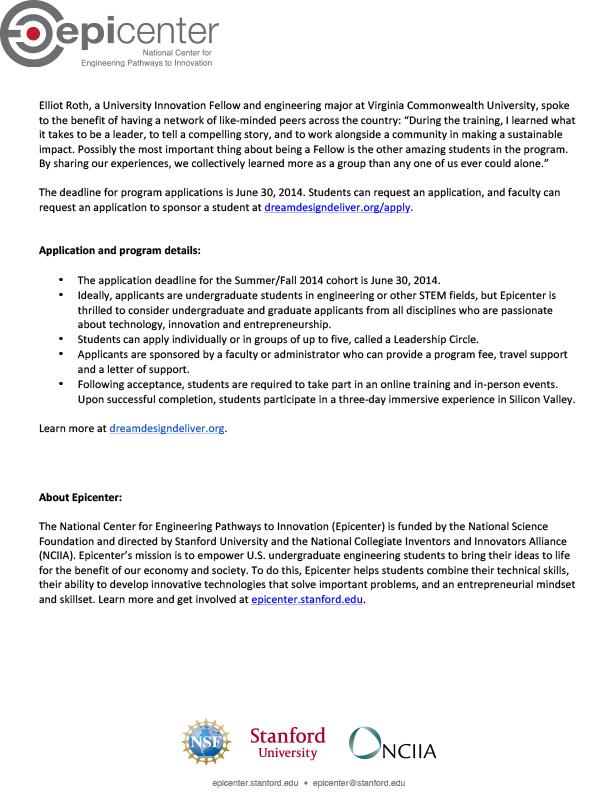 Microsoft Word - Epicenter University Innovation Fellows press r