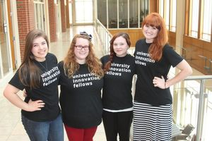 From left, Candace Alsenay, Alexandra Hamon, Laura Davis, Ashley Findley