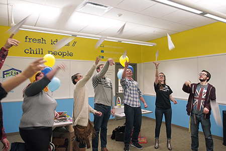 Fellows take part in a warm-up exercise during the Kent State Meetup. Photo by Laurie Moore.
