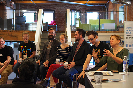 The day after #OneDayKC, Fellows heard from a panel of local entrepreneurs and educators. Photo by Laurie Moore.