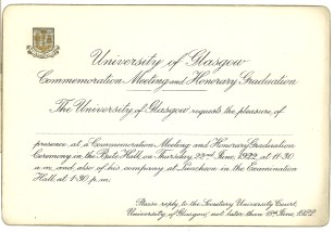 Invitation to Commemoration Day and Honorary graduations 1922 (Acc130/2/10)