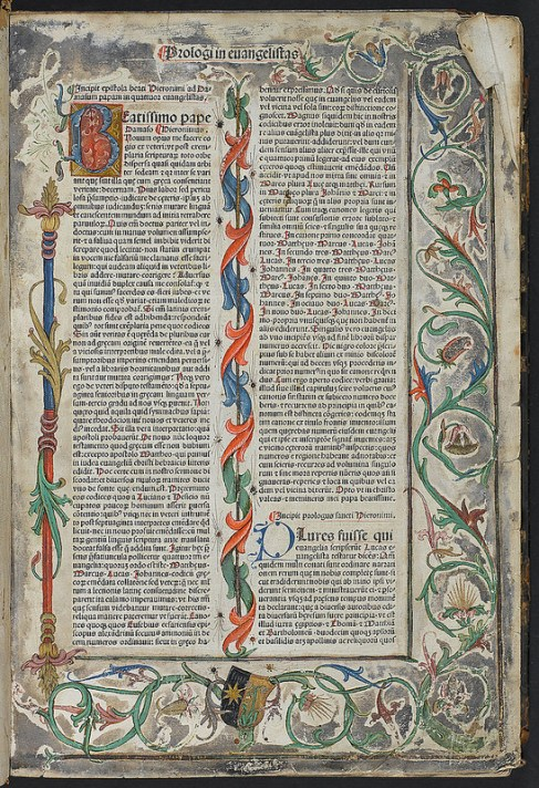 Beautifully decorated page from an undated Latin bible (167505)