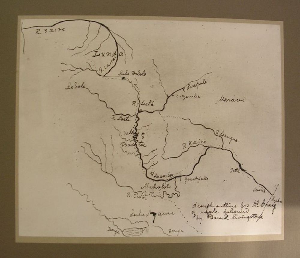 Copy of sketch map showing David Livingstone's route (The Hunterian GLAHM C.1929.1)