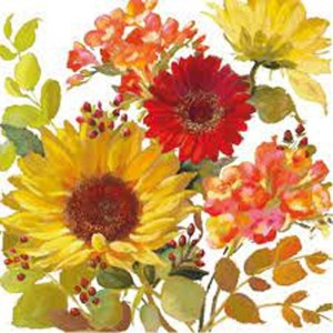 "GUARDANAPO ""SUNNY FLOWERS CREAM""-33X33CM"