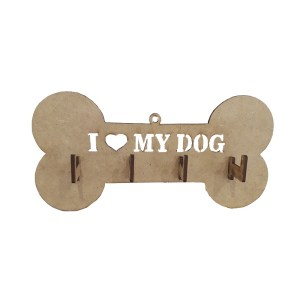 "PORTA CHAVES LASER ""I LOVE MY DOG""-20X10CM"