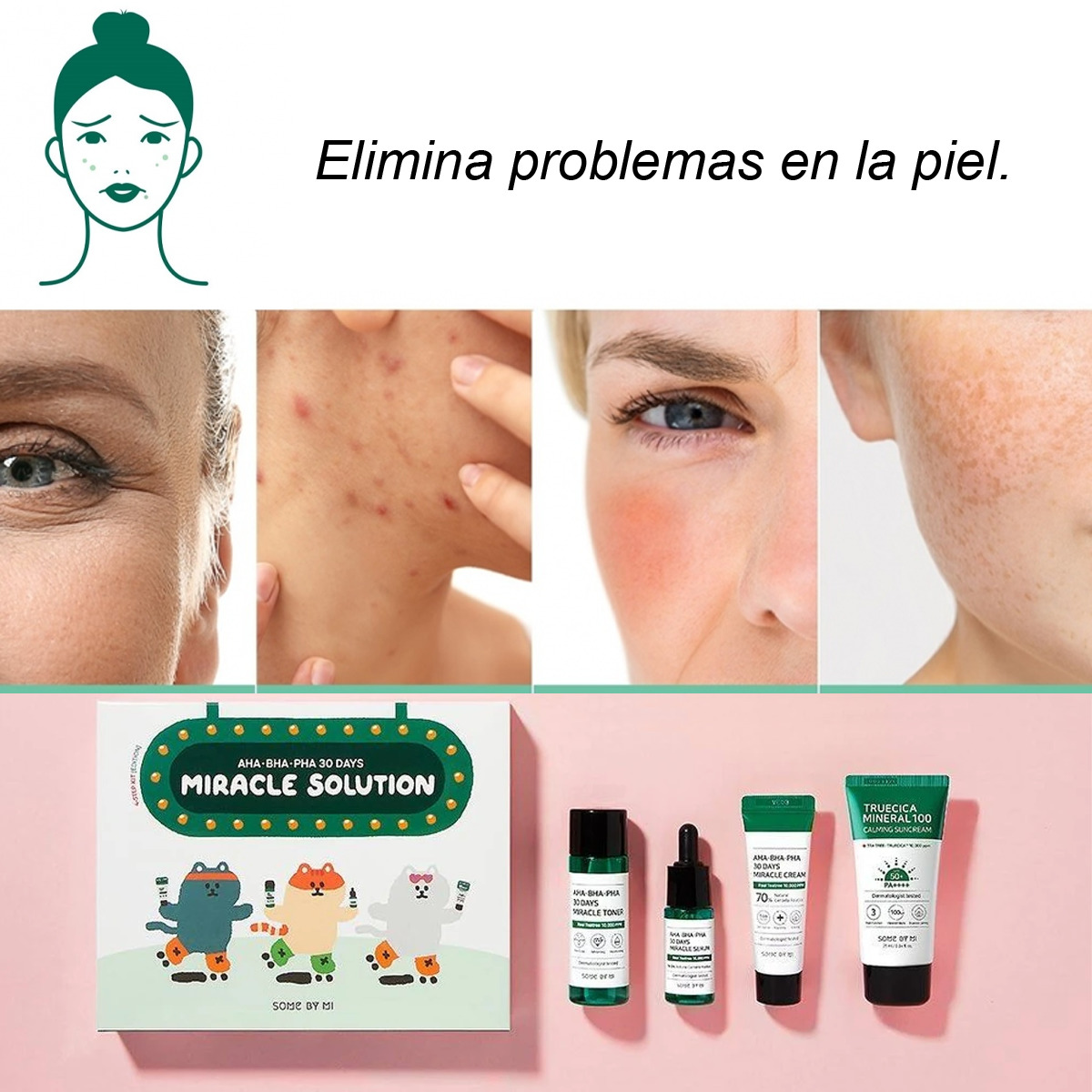 Kit 4 Pasos Elimina Acné Y Mejora La Piel 30 Days Miracle Solution Some By Mi