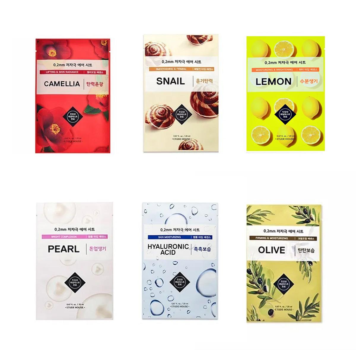 Paquete 6 Mascarillas Etude House 0.2 Therapy Air Mask Hidrata Ilumina