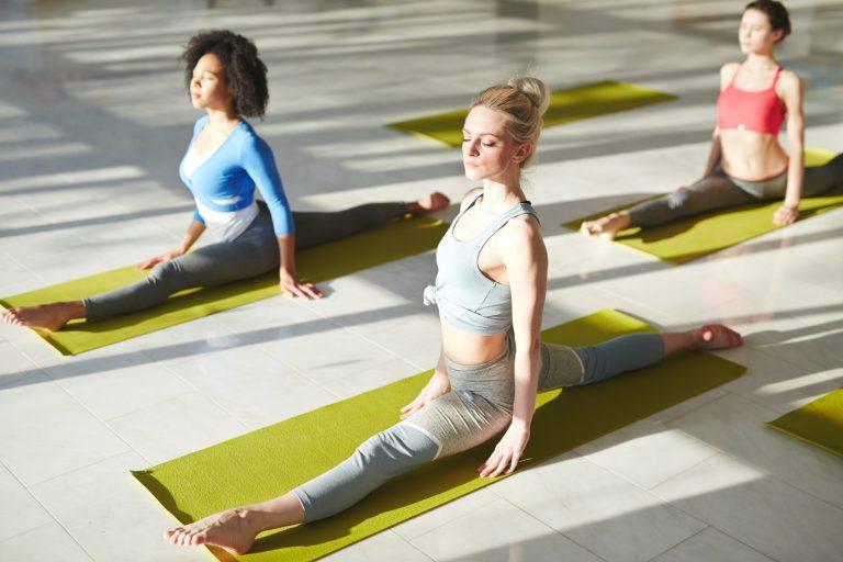Yoga on mats