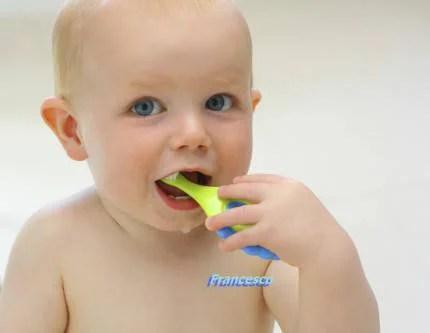 Baby Boy Brushing His Teeth