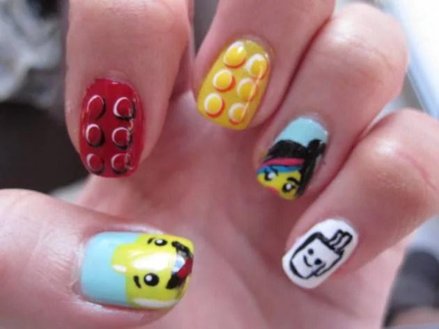 Lego Movie nail art