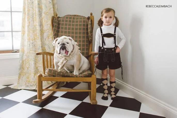 bimba e cane bulldog