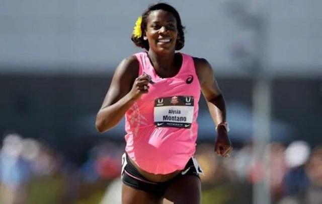 Alysia Milano incinta corre gli 800 metri